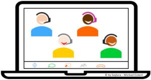 Die Grafik zeigt eine Live-Online-Schulung mit drei Teilnehmern, ein Link zu der Unterseite Online-Seminare ist enthalten