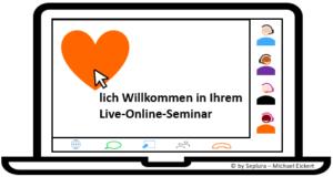 Die Grafik zeigt eine Live-Online-Seminar-Situation mit drei Teilnehmern - der Dozent gibt seinen Bildschirm frei: Ein Herz mit einer Willkommensnachricht ist zu sehen, auf dem Herz steht ein Mauszeiger