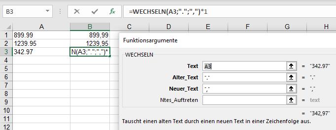 Microsoft Excel für Office 365 Wechseln-Funktionsargumente